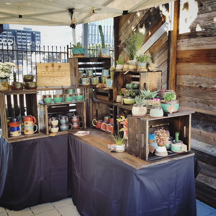 All of the wood gives this craft fair space a homey vibe