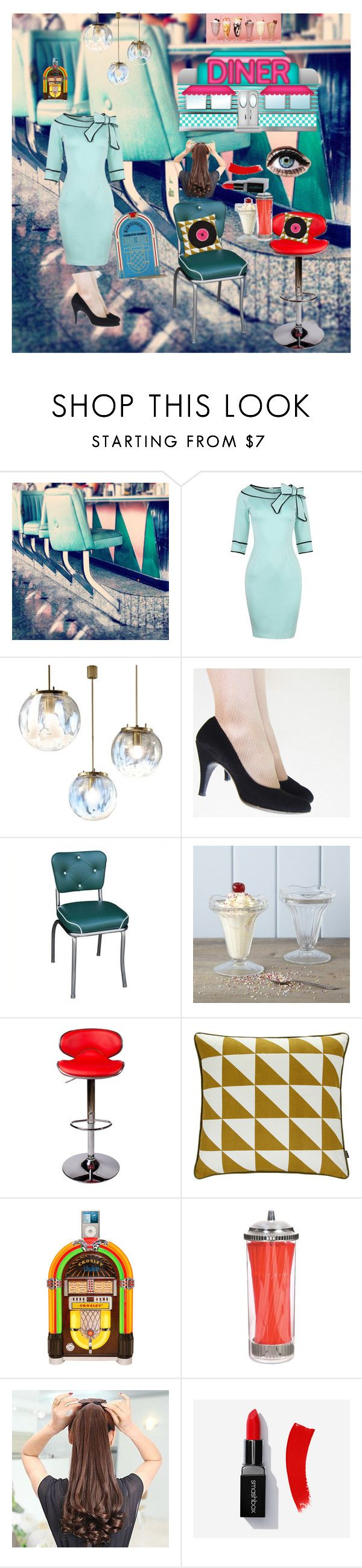 """50s"" by karabear3256 ❤ liked on Polyvore featuring Richardson Seating, Rigby & Mac, ferm LIVING, Kitchen Craft and Charlotte Olympia"