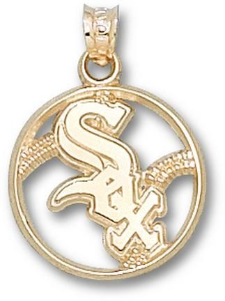 Chicago White Sox Pierced Sox Baseball Pendant - 14KT Gold Jewelry