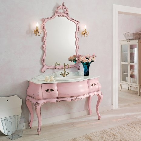 Repaint a small antique desk and mirror in the same color for a child's (or adult) vanity.