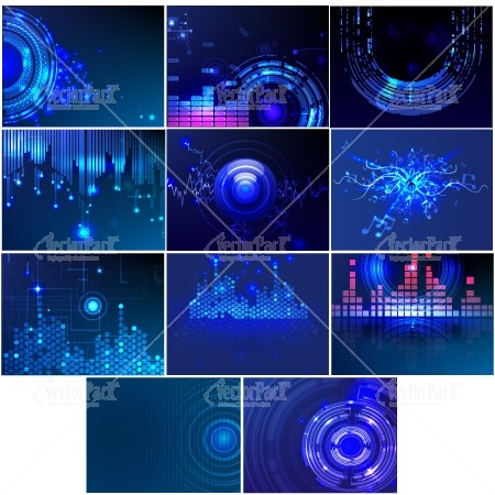 11 vector backgrounds which are inspired by the technology used in producing music nowadays.