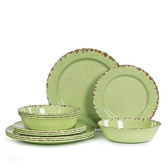 Amazon Com 12pcs Melamine Dinnerware Set For 4 Outdoor Use Dinner Dishes Set For Camper Break Green Dinnerware Melamine Dinnerware Sets Melamine Dinnerware