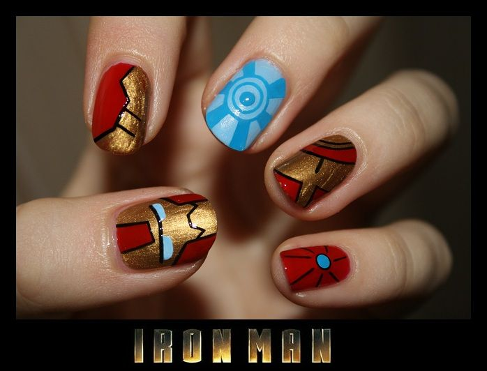 Iron Man nails Nailswithlove.blogspot.com