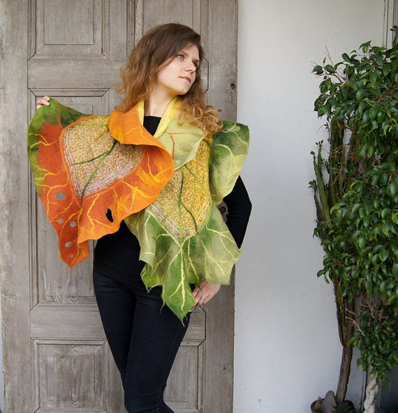 Nuno felted ruffle scarf like leaf long silk shawl in by filcAlki