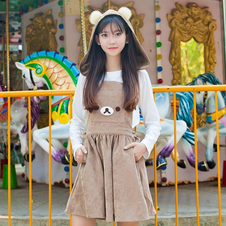 Autumn Skirts Soft Sister Amime Cute Bear Ears Hood Brown Cute Jumper Skirt Lolita Cute Japanese Suspender Strap Embroidery JSK