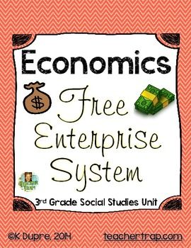 "Economics: The Free Enterprise System  (3rd Grade Social Studies Unit)  In this 2-4 week unit, students learn the basics of economics through interactive classroom simulations and engaging activities.    The unit is broken into 3 parts:  Part 1: Personal Finances  Students begin by imagining their life in the future as you travel to the newly discovered planet ""Futura.""  Here, students must make choices about their home, vehicle, food, and fun and balance these wants and needs with the job…"