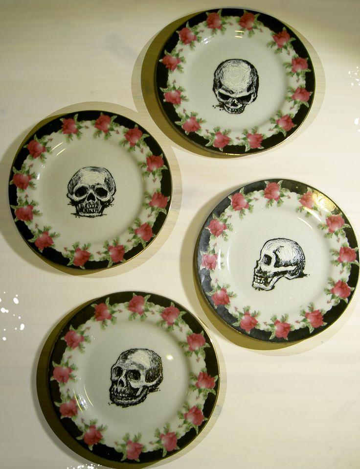 drawing with ceramic paint on vintage plates #skullsnroses #vintage