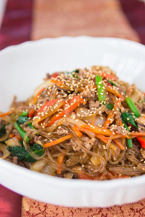 jap-chae - Korean Glass Noodles with vegetables and stuff. One of my favourites.