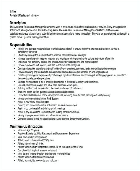 Assistant Restaurant Manager Resume , Restaurant Manager Resume