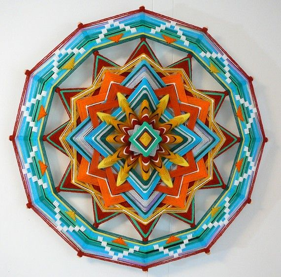 Emerald Light, a 24 inch, 12-sided, Ojo de Dios mandala, Etsy $175.00