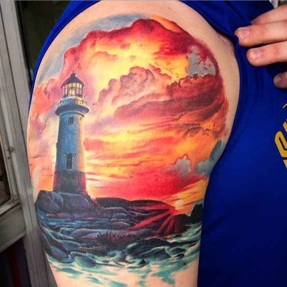 Got a healed photo of this cool light house sunset piece. #ink #lighthouse #sunset #tattoo #tattoos #healed #healedtattoo