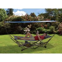 EZ Stow Portable Hammock with Canopy — Blue