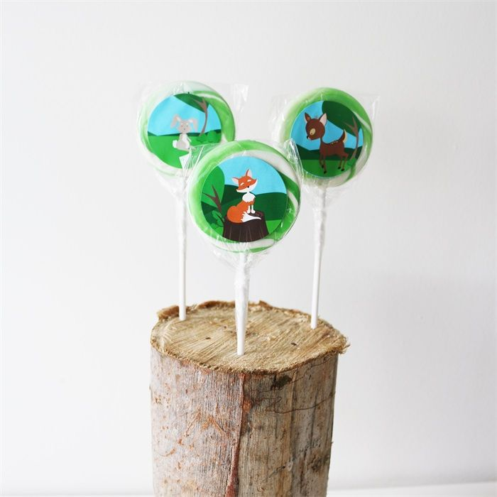 Forest Animals Party Pack. fox, reindeer & rabbit Lollipops badges & lolly bags