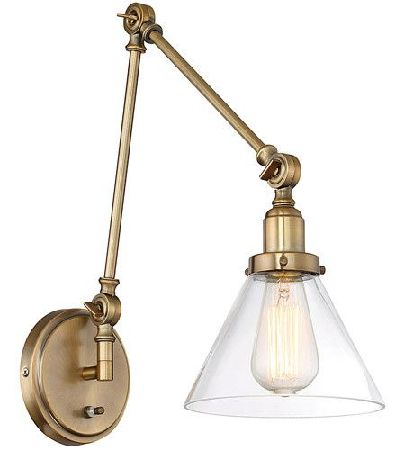 Savoy House Drake Swing Arm Wall Sconce in Antique Warm Brass with Clear Glass Cone Shade 9-9131CP-1-322