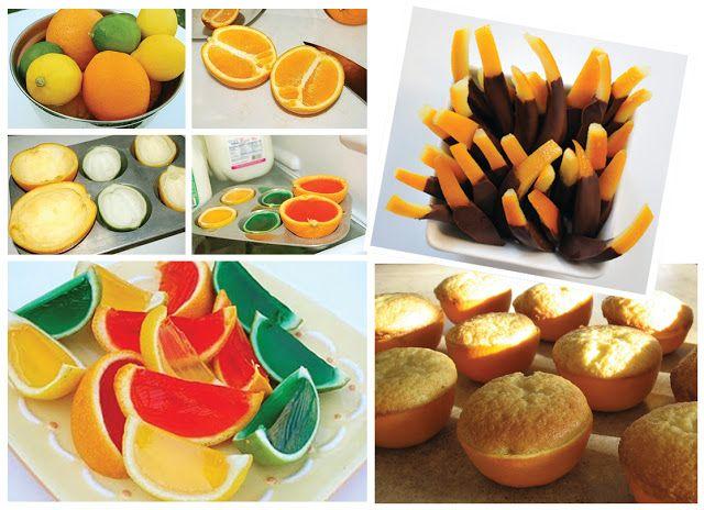 rodajas de gelatina, cáscaras de naranja con chocolate, cupcakes