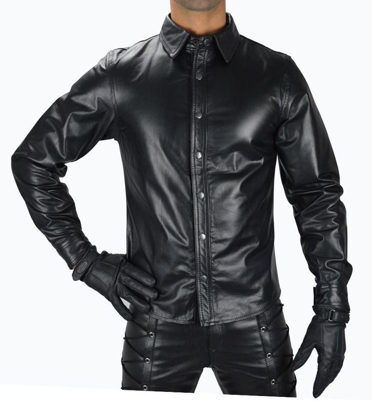 MEN LEATHER SHIRT GENUINE LAMBSKIN LEATHER POLICE MILITARY STYLE CAUSAL SHIRT 34…