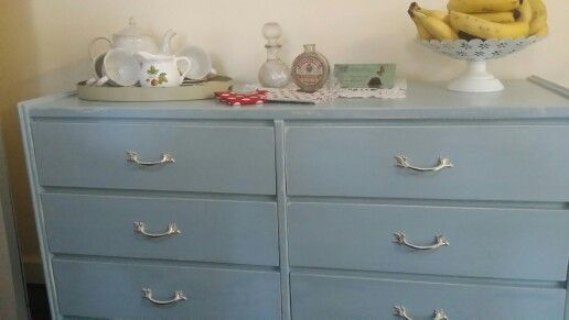 Upcycled this dresser in a home made chalk paint. Love the colour