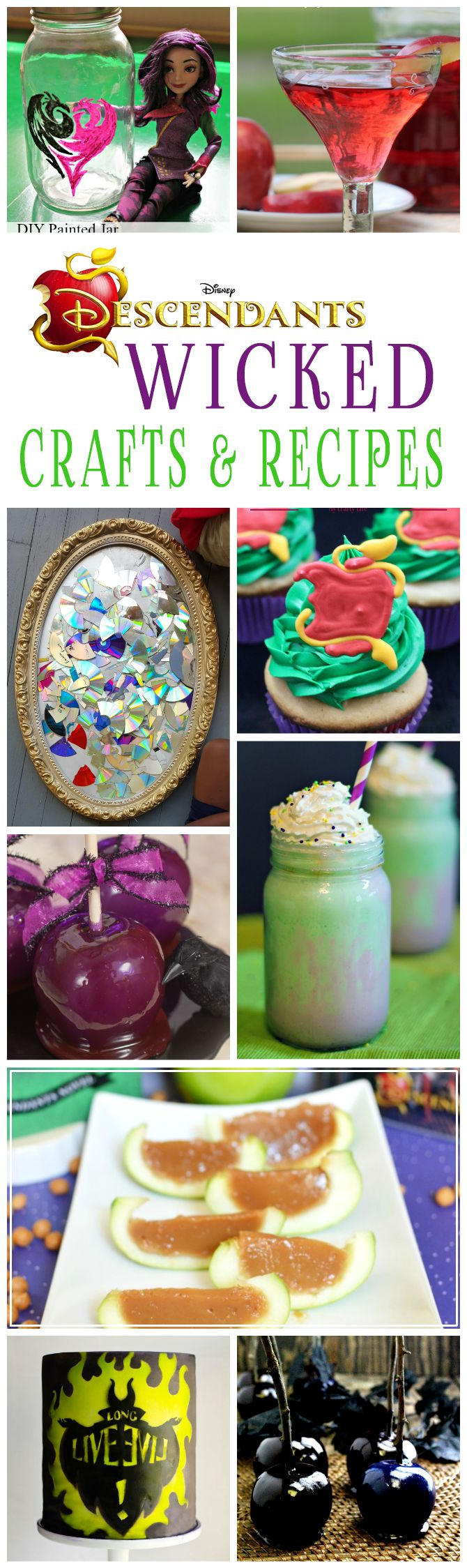 Disney Descendants crafts and recipes that are perfect for a movie watching or birthday party. Lots of wicked fun to be had!