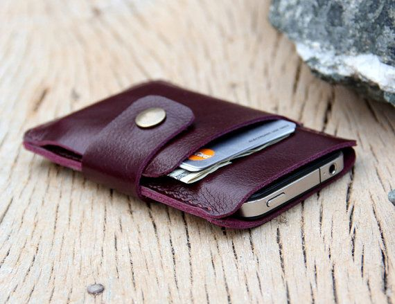 Mini purple leather iphone wallet case