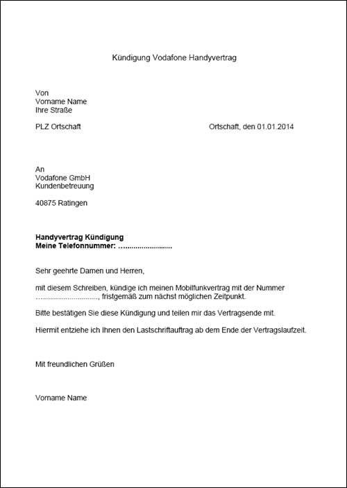 Ein Kündigungsschreiben für einen Vodafone Vertrag. Die Vorlage kann kostenlos heruntergeladen werden.