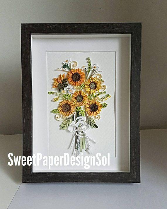Paper Quilling Art Sunflower Bouquet Framed Art Mothers Day Gift