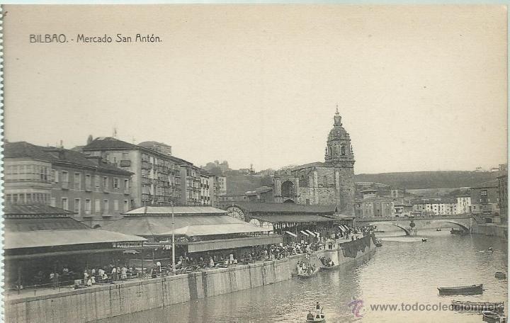POSTAL ANTIGUA DE BILBAO- MERCADO DE SAN ANTON -EDITA L.G. BILBAO - Foto 1