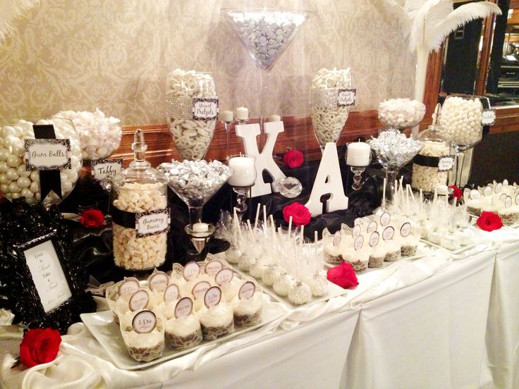 White & Black Wedding Candy Buffet by Sweet Tooth Candy Buffets facebook.com/SweetToothBuffets