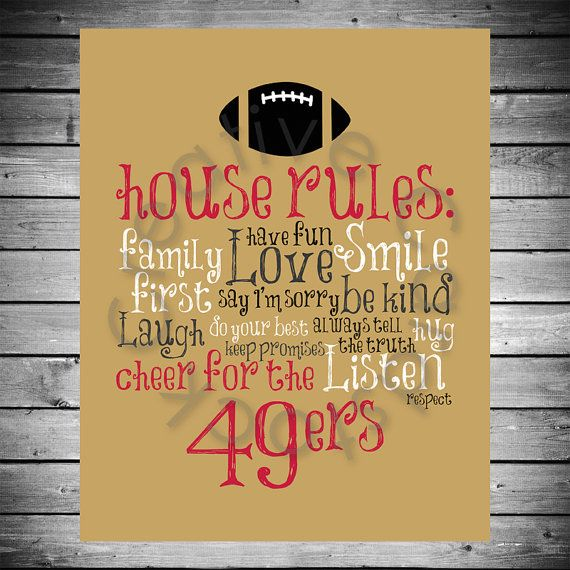 San Francisco 49ers House Rules  8x10 INSTANT by CreativeCardstock, $10.00