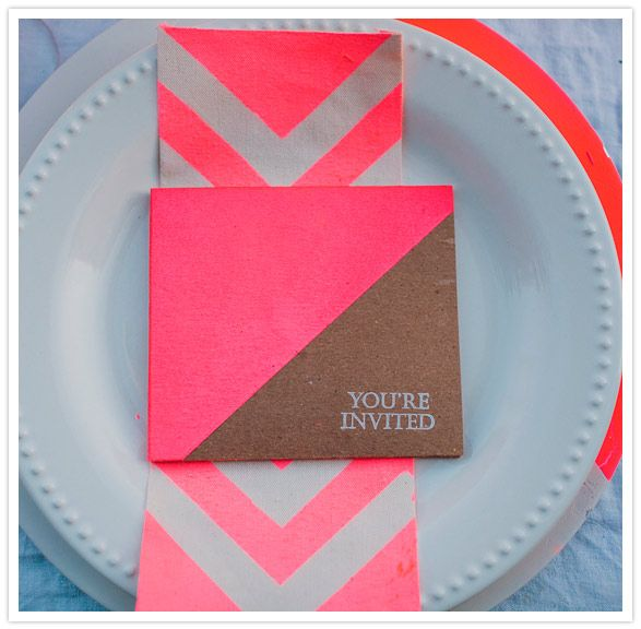 neon pink napkin and invitation