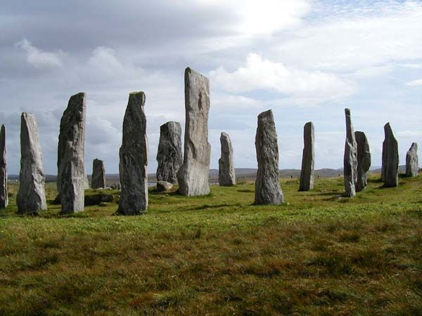 Callanish standing stones on the Isle of Lewis, Outer Hebrides, Scotland. These stones were erected about five thousand years ago, and the climate was much milder in Scotland.   Much interesting information and legends http://www.philipcoppens.com/callanish.html