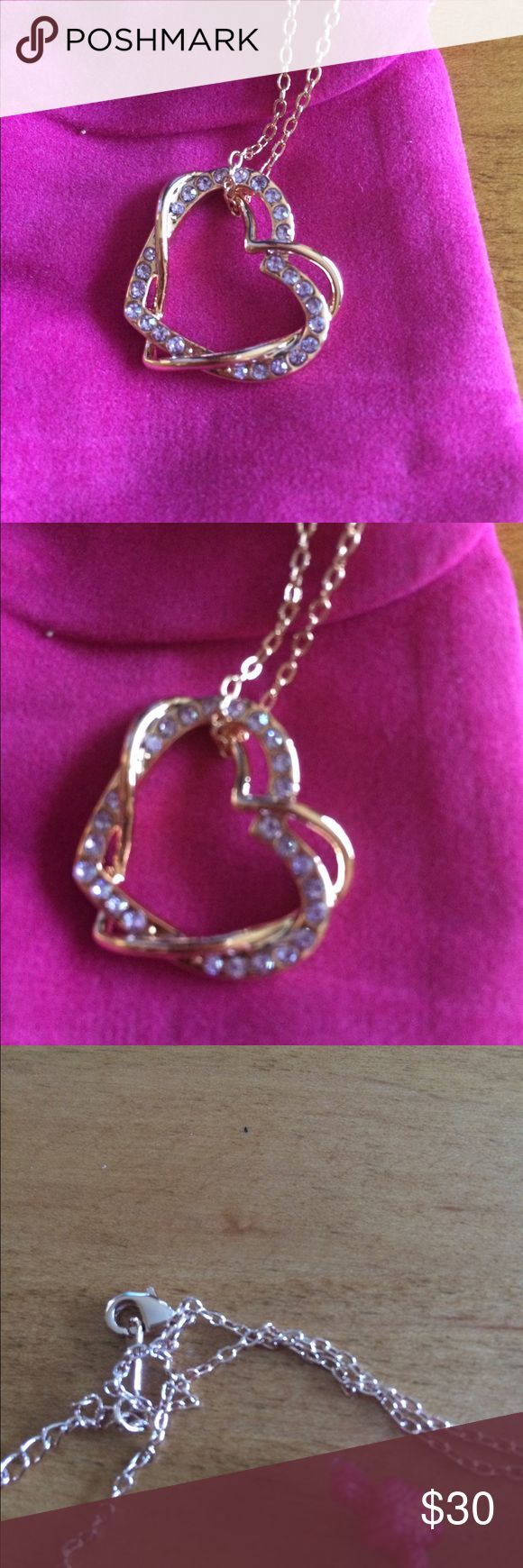 """Rose Gold Double Heart with Purple Rhinestones Brand New Rose Gold Double Heart Necklace. Purple Rhinestones and 18"""" adjustable chain. Little pink pouch included Jewelry Necklaces"""