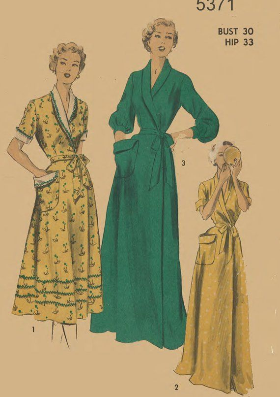 1950 S Vintage Sewing Pattern Women S Dressing Gown Etsy Gown Sewing Pattern Gowns Dresses Vintage Sewing Patterns