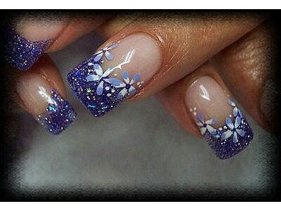 Gel Nails with Purple Sparkle Tips & Flower Design.