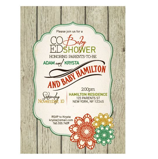baby shower invitation co ed optional gender neutral rustic baby