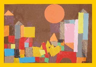 De kinderen krijgen een bruin vel met een oranje zon erop geplakt. Opdracht. Maak gebouwen en torens vanaf de grond, om de zon. (Paul Klee, Castle and sun)