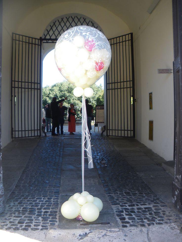 Composizione BIG balloon con palloncini elio per matrimonio, Palazzo Chigi, Ariccia