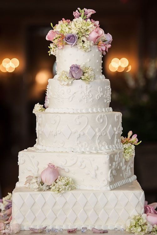 Wedding cake lilla e rosa