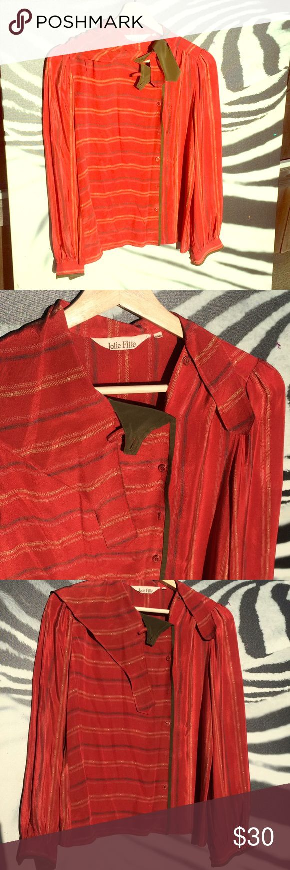 Oui! 💋70s French silk shirt 💋 Foreign exchange student in the 70s HOT!!! Adorable vintage blouse  Tags Brigette Bardot, French pop, sweet seductress, pinup Jolie Fille Tops Blouses