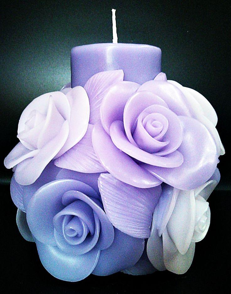 Svíčka * fialové růže