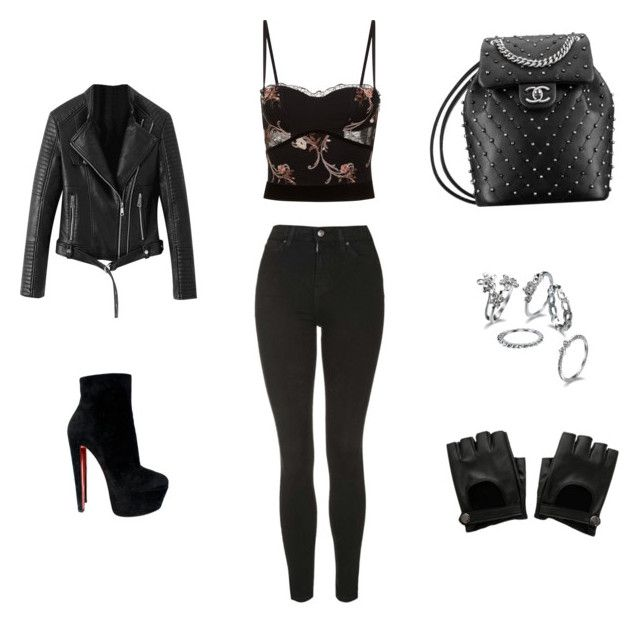 """""""Untitled #27"""" by jennybuutrago on Polyvore featuring La Perla, Topshop, Christian Louboutin and Hot Topic"""