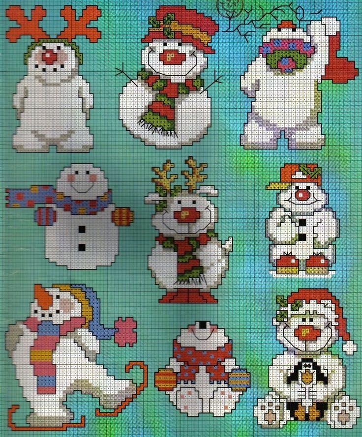 Snowmen cross stitch