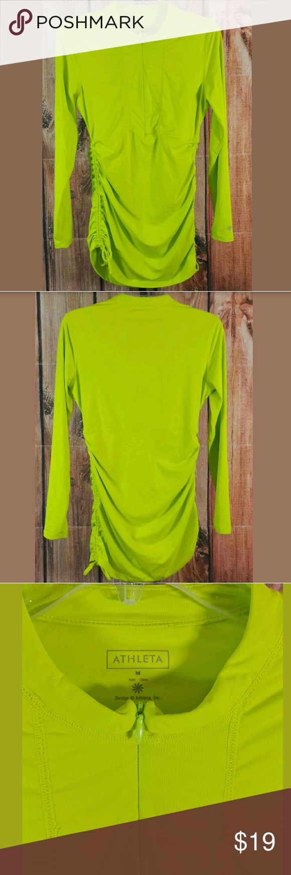 """Athleta Half Zip Green Long Sleeve Top Size Medium Athleta Half Zip Long Sleeve Top Size Medium Lime Green Ruched Sides Condition:  Great Pre-Owned Condition from clean pet/smoke free home.  Measurements:  Bust:  15"""" Length:  29"""" Athleta Tops"""