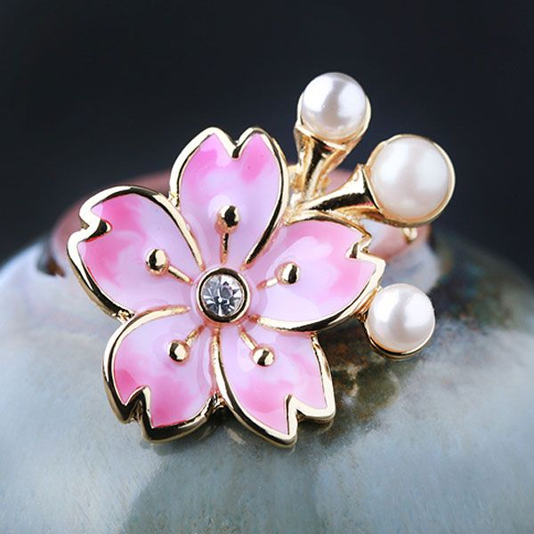 Glass Pearl Cherry Blossoms Brooch | Jewelry