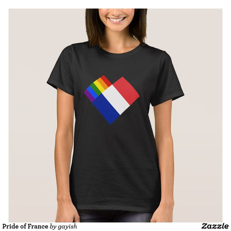Pride of France t-shirt.  #gaypride #tshits #prideshirt #pride #flags #heart #gayrights #france #gayfrance
