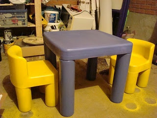 Painted Little Tikes Table & Chair | Would be fun to stencil Alphabet, Numbers, and/or Shapes on table top