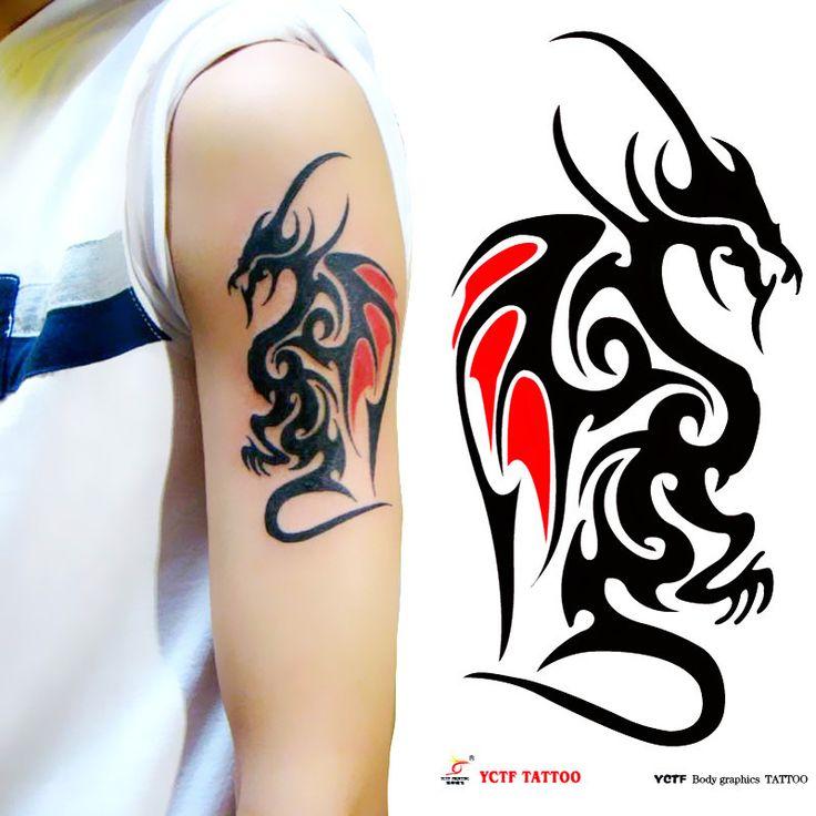 Временные татуировки дракона большой черный рука макияж поддельные наклейки передачи татуировки горячие сексуальные мужчины женщины спрей водонепроницаемый дизайн