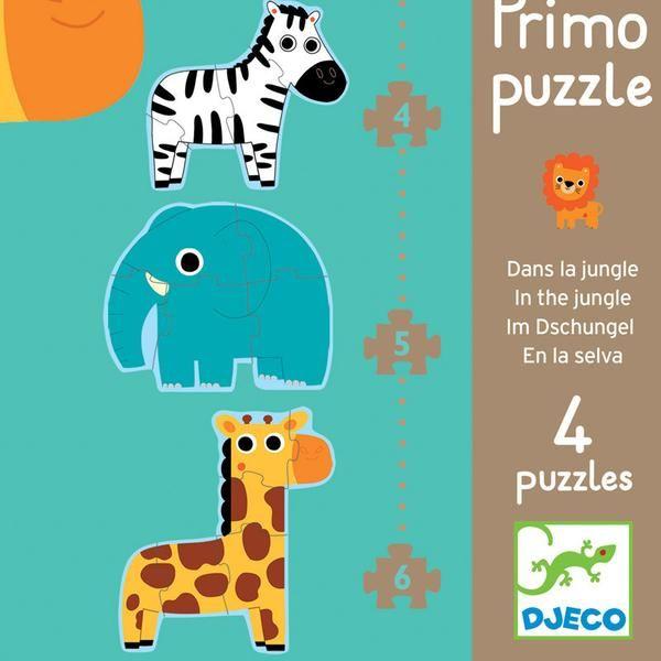 Fin æske med fire forskellige puslespil med motiver af vilde dyr. Særligt velegnet til de mindre børn.