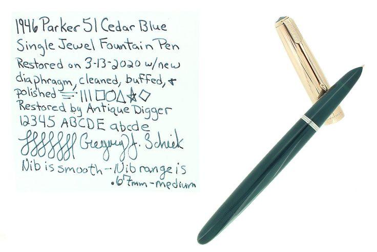 Best 1946 Parker 51 Cedar Blue Vacumatic Fountain Pen Restored 400 x 300