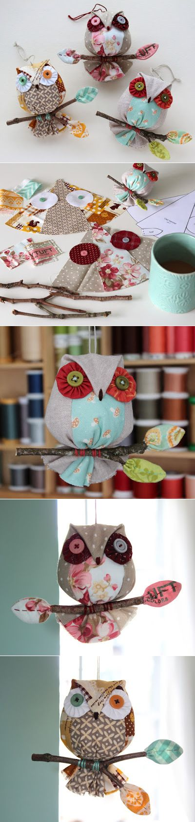 PatchworkPottery: Owl Ornaments!
