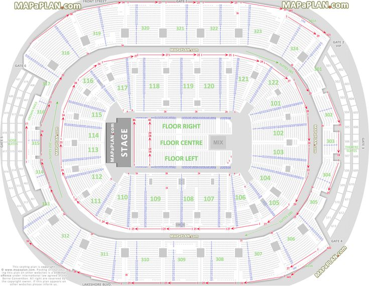Toronto Air Canada Centre - Detailed seat & row numbers chart with west end stage concert floor plan layout